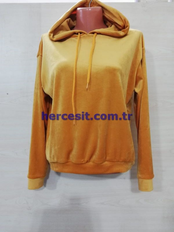 Smileface Kapşonlu Kadife Sweat